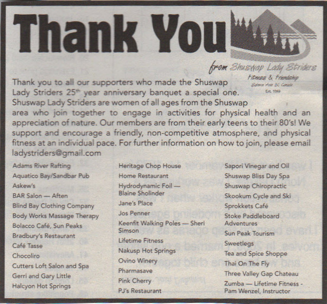Shuswap Lady Striders - Thank You, 25th Anniversary